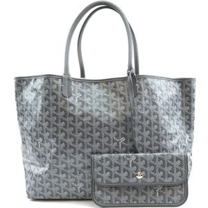 Grey Goyardine Coated  Leather Shoulder Bag